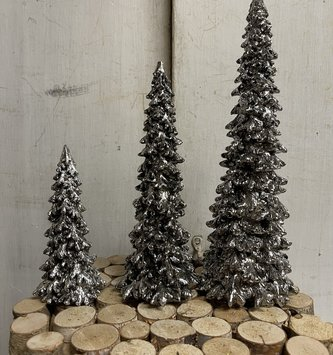 Set of 3 Silver Forest Christmas Trees
