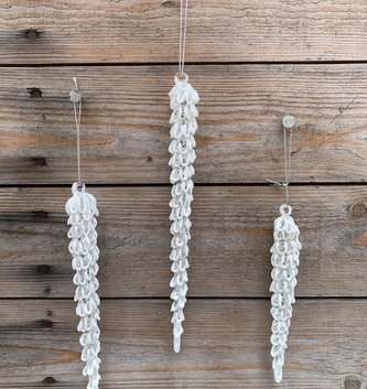 Snow Covered Glass Icicle (3-sizes)