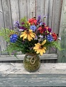 Custom Fields of Flowers in Glass Rope Handle Container