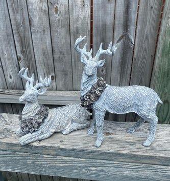 Set of 2 Gray Shimmer Deer