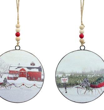 Sleigh Disc Ornament (2-Styles)