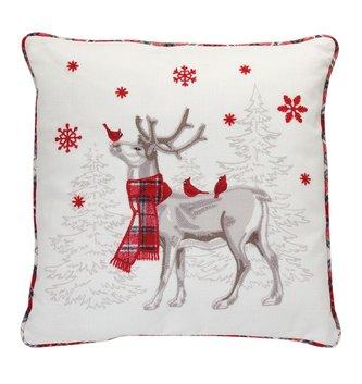 Embroidered Deer & Cardinal Pillow