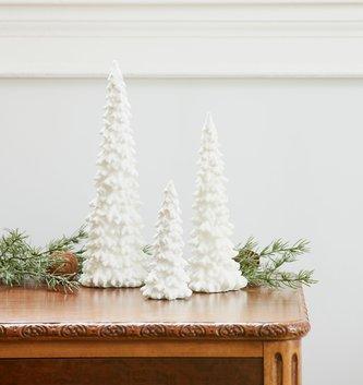 Set of 3 White Shimmer Christmas Trees