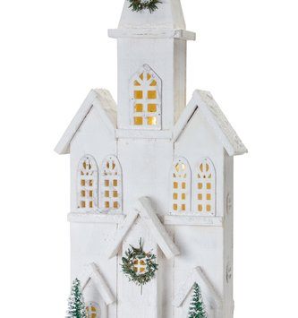 Battery Operated Light Up Wooden Winter Cathedral