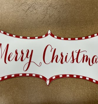 Red & White Striped Merry Christmas Sign