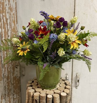 Custom Wildflowers In Light Green Container