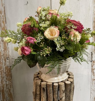 Custom English Rose Arrangement in Cream Scalloped Bowl