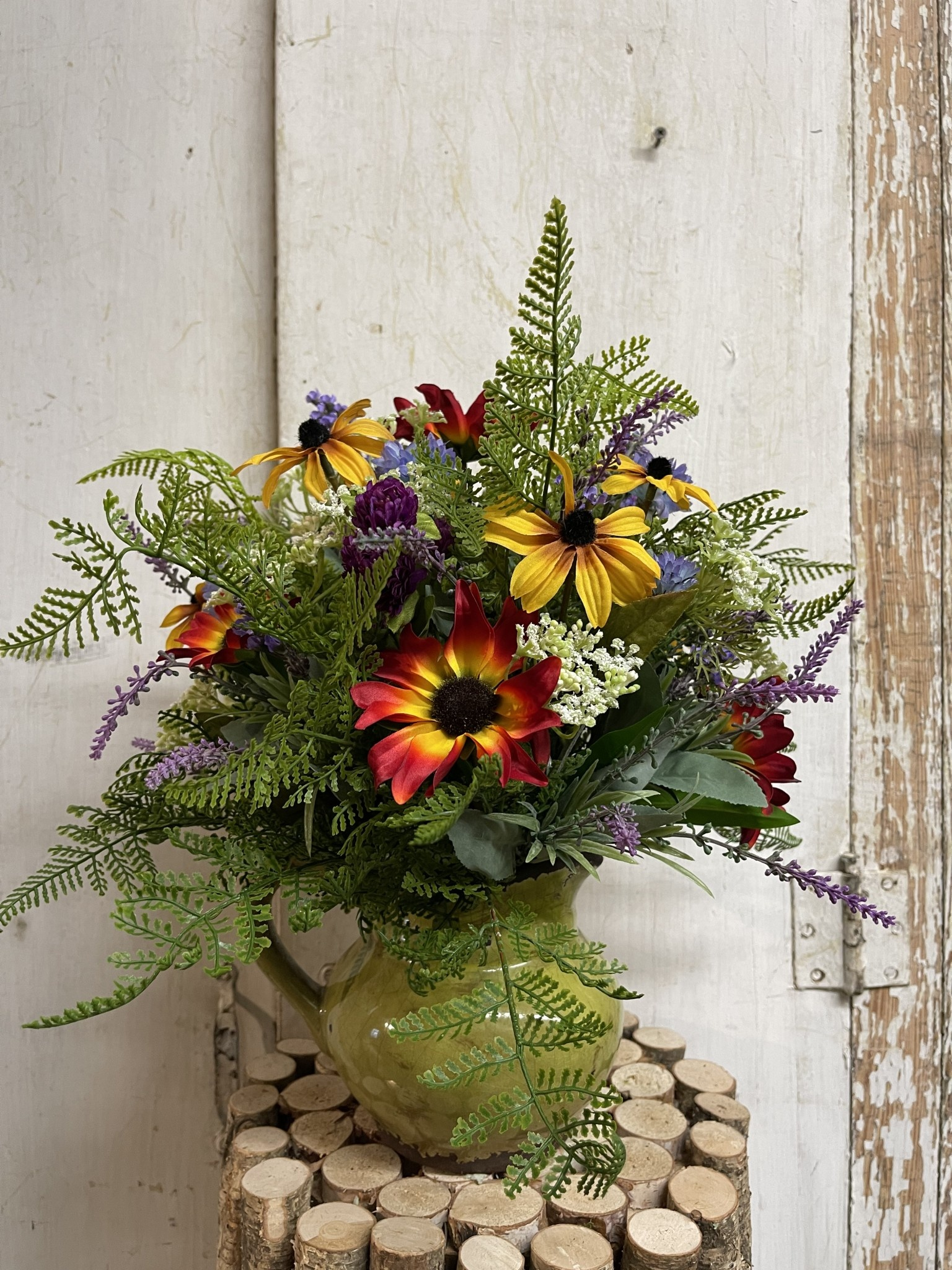 Custom Black Eyed Susans & Wildflowers In Small Distressed Green Pitcher