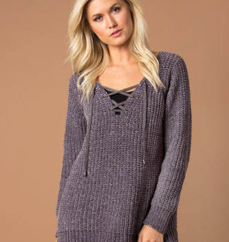 Simply Noelle Lace Up Velour Sweater (3-Colors 2-Sizes)