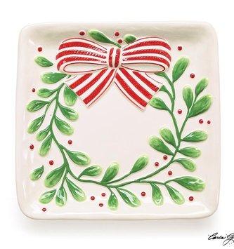 Square Mistletoe Wreath Plate