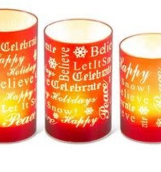 Set of 3 LED Christmas Message Candles