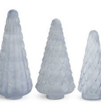 Set of 3 Embossed Frosted Blue Trees