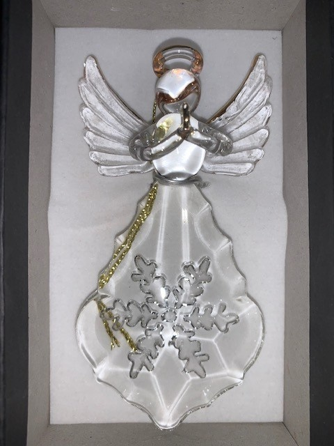Embossed Glass Angel Ornament