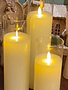 Large Set of 3 LED Battery Operated Pillar Candles w/ Remote (2-colors)