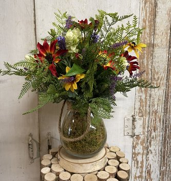 Custom Indian Summer In Glass Vase w/Rope Handle