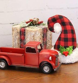 Vintage Red Metal Pick-Up Truck