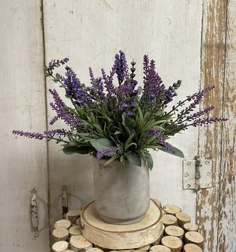 Custom Mixed Lavender In Gray Stoneware Container Style A