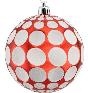 Red & White Polka Dot Ball Ornament