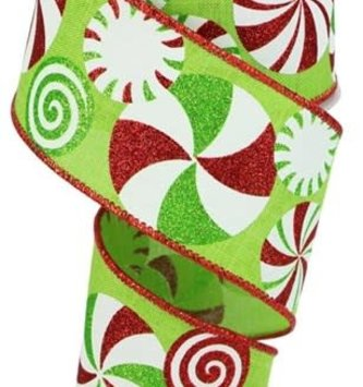 Green Peppermint Candy Wired Ribbon 10 Yds