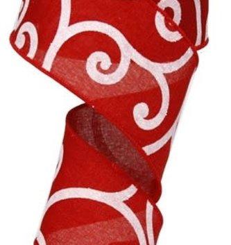 Red Swirl Glitter Wired Ribbon 10 Yds