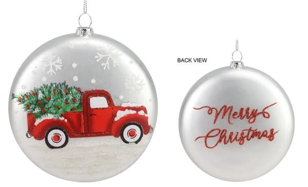 Winter Red Truck Disk Ornament