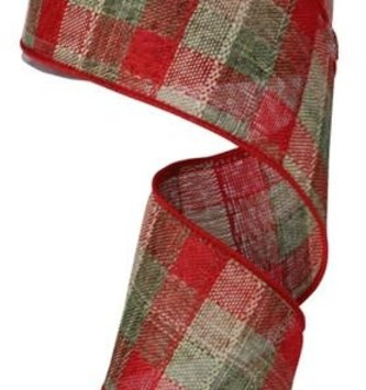 Linen Plaid Christmas Ribbon 10 Yds