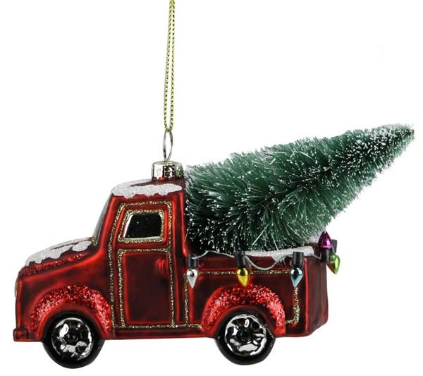 Glass Vintage Red Truck w/ Tree Ornament