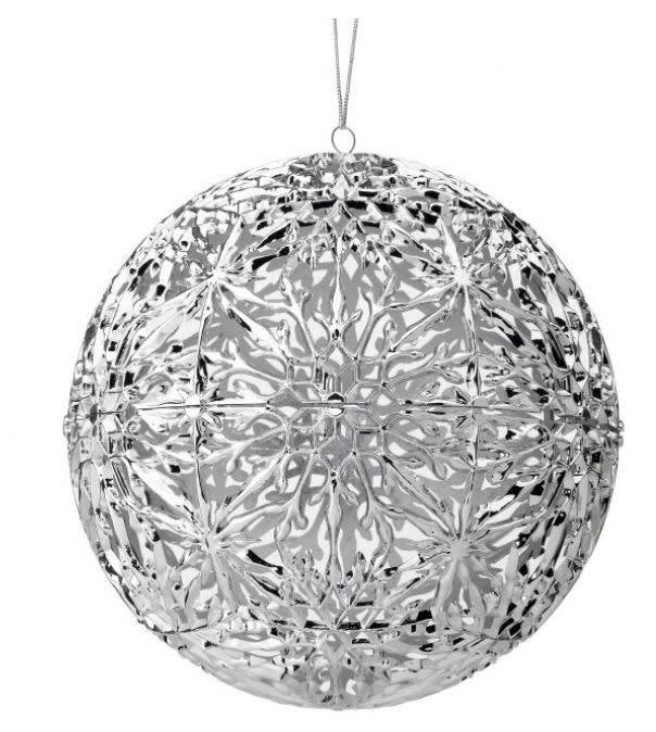 Large Silver Cutout Snowflake Ball Ornament