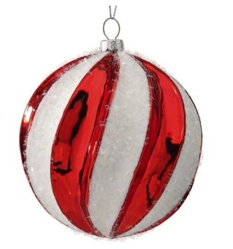 Glass Snow Peppermint Stripe Ornament