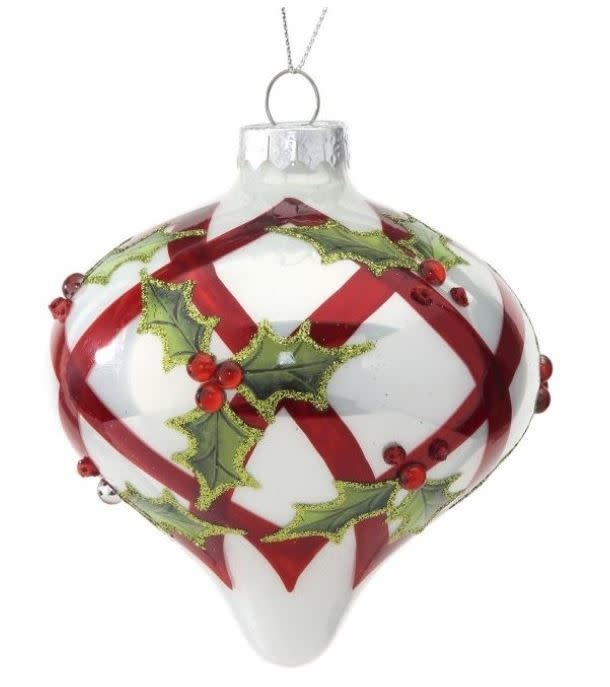 Red & White Holly Finial Ornament