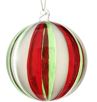 Red & Green Striped  Glass Ball Ornament
