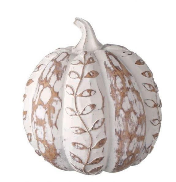 Whitewashed Carved Leaf Pumpkin