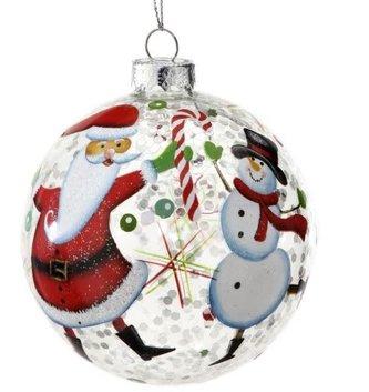 Clear Santa Snowman Glitter Ornament