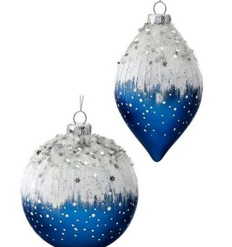 Blue Snow Capped Beaded Ornament (2-Styles)