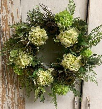Custom Hydrangea Garden & Nest Wreath
