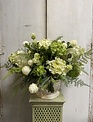 Custom Green & White Hydrangea & Ranunculus In Cream Scalloped Bowl
