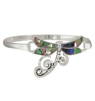 Silver Abalone Dragonfly Bangle