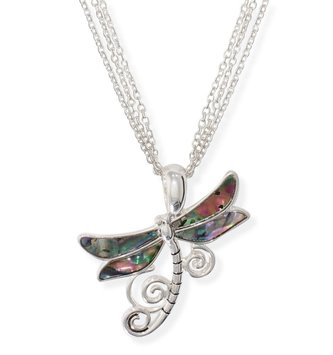 Silver Abalone Dragonfly Necklace