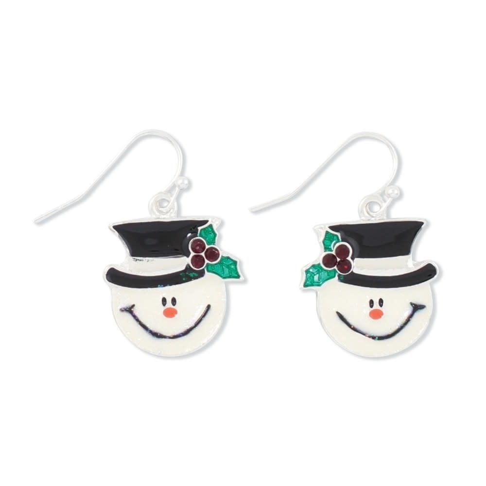 Glittering Snowman Earrings