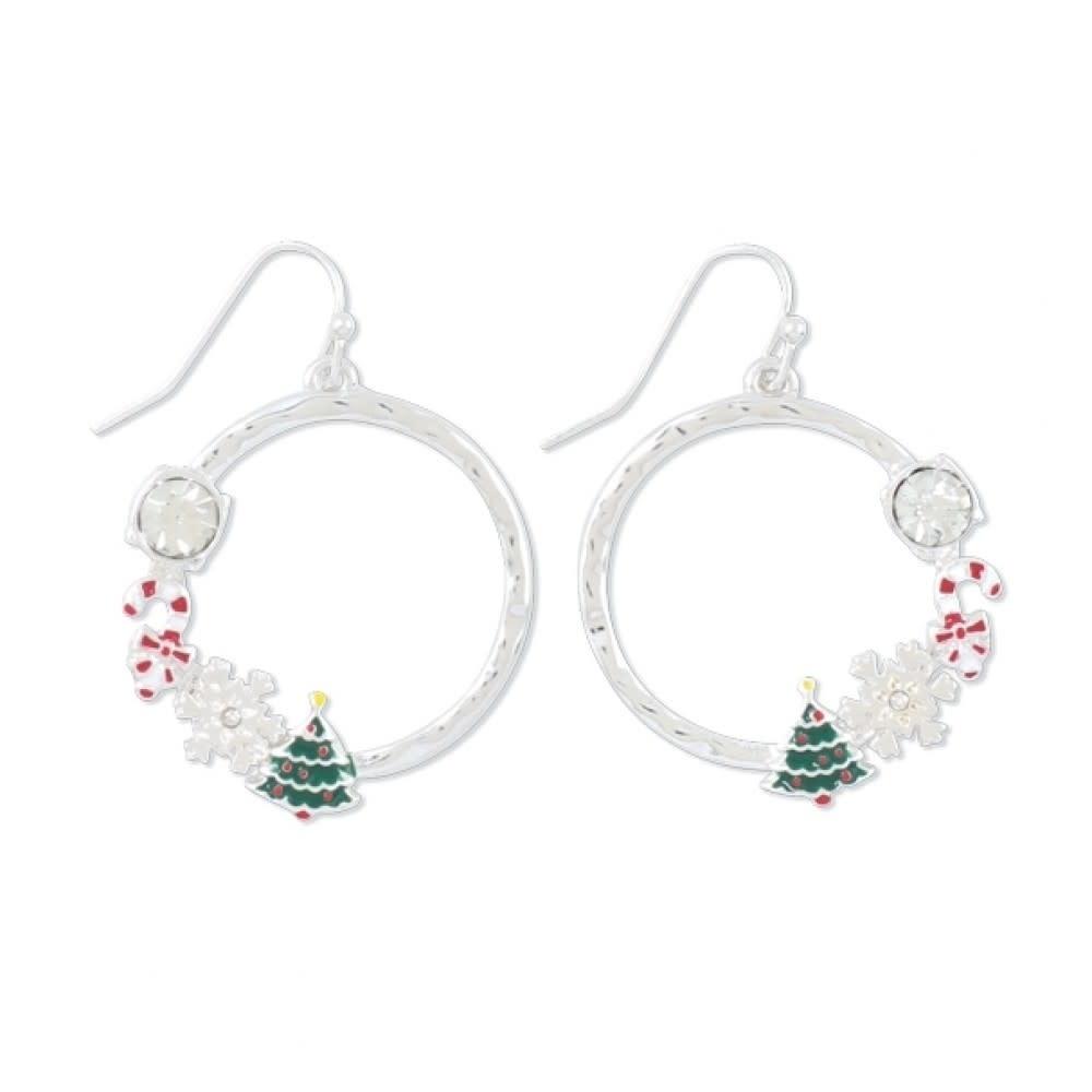 Silver Christmas Hoop Earrings