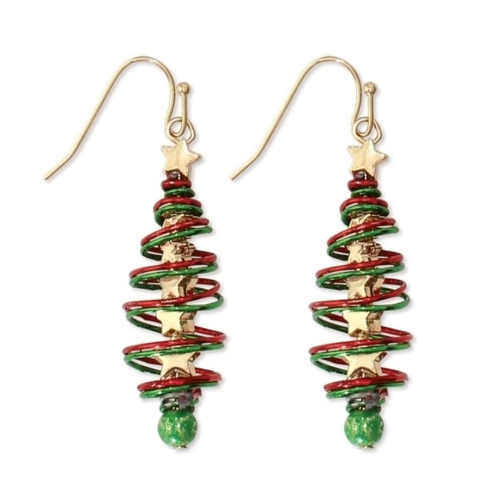Twisted Tree Christmas Earrings