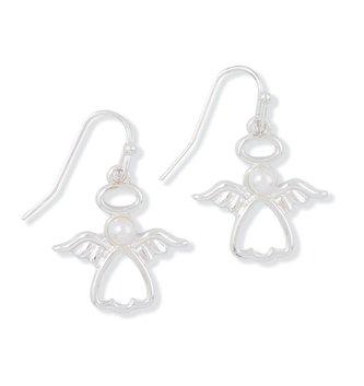 Silver Angel Pearl Christmas Earrings