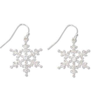 Silver Snowflake Christmas Earrings