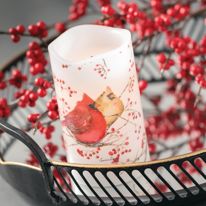 Red Berry Cardinal Battery Pillar Candle