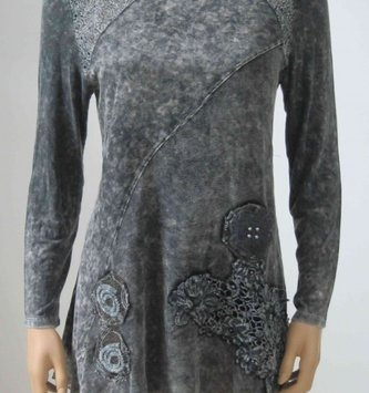 Radzoli Gray Tunic w/ Lace Floral Detail