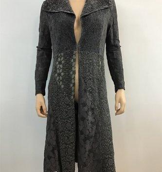 Radzoli Elegant Gray Long Lace Open Front Jacket
