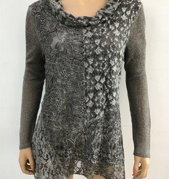 Radzoli Lined Gray Lace Cowl Neck Tunic