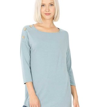 Magic Scarf Boat Neck Hi-Lo Top w/ Wooden Buttons (3-Colors)