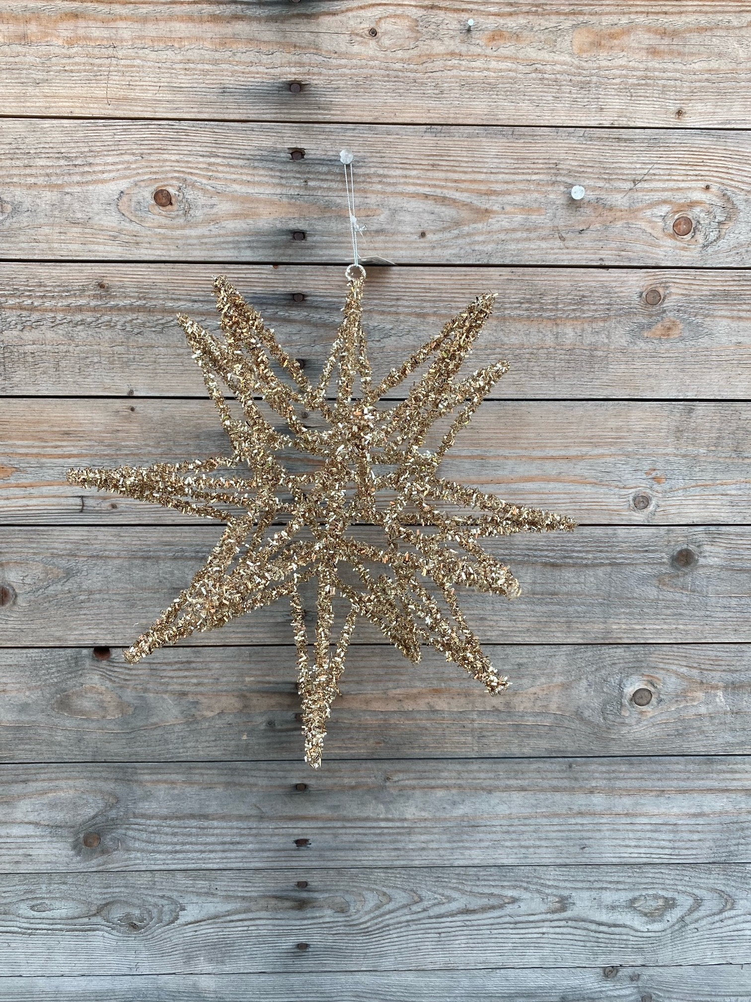 """12"""" Tinsel Star Ornament"""