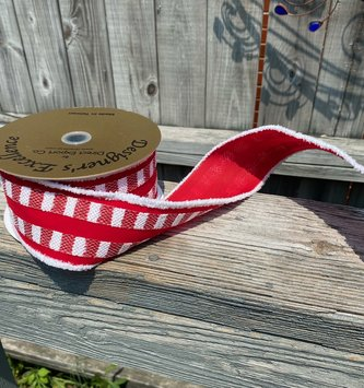 Snow Edged Wired Red & White Ribbon 10 Yds